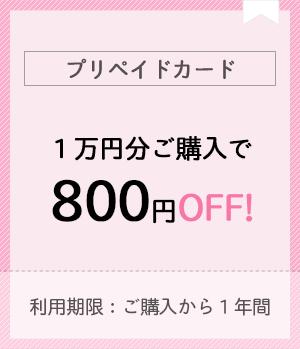 プリペイドカード1万円分ご購入で800円お得!